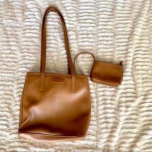 Vintage 90s Nine West Brown Faux Leather Bag